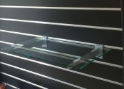 clear glass shelves